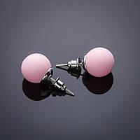 Серьги пусеты  Шары 12 мм Пудра розовый