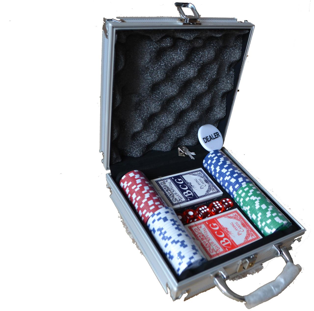 Покерный набор на 100 фишек без номинала для 2-х