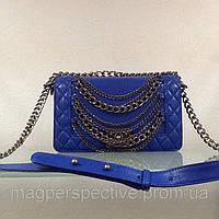 Сумочка (сумка) Шанель boy кожаная синяя  LUX копия