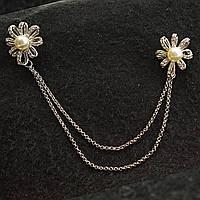 [20/17 мм] Брошь светлый металл двойная  Цветы с жемчужинами со стразами на цепочке для кардиганов и воротничков