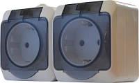 Фурнитура. Электроустановочные изделия. Блок- две розетки  с прозрачной крышкой  2P316-3-IP44N