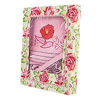 Набор махровых полотенец Роза красная банное и кухонное