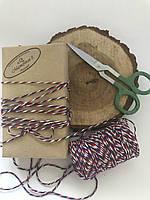 Цветной шнур хлопок, нить, верёвка, шпагат, декоративный шнур для упаковки, цвет красный, белый, синий