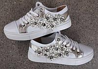 Кеды кожаные с цветочками белые реплика Gucci