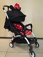 Детская коляска YOYA 175 A+ Minnie Mouse Black, 3 ярусный капор, легкая, компактная Йойа Минни Маус
