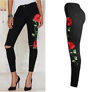 Черные штаны с вышивкой РМ7758