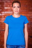Синяя футболка женская однотонная без рисунка летняя под джинсыхлопковая хб(Украина)