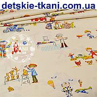 """Польский хлопок с названием """"Профессии"""", фон ткани - кремовый  (№ 855а)"""
