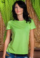 Салатовая футболка женская однотонная без рисунка летняя под джинсыхлопковая хб(Украина)