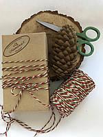 Цветной шпагат хлопок, нить, верёвка, декоративный шнур для упаковки, цвет  красный, зелёный, белый