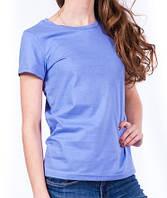 Сиреневая футболка женская однотонная без рисунка летняя под джинсыхлопковая хб(Украина)