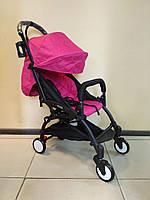 Детская коляска YOYA 175 Рink, 3 ярусный капор, легкая, складная, компактная Йойа малиновая