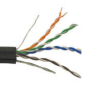 Кабель Витая пара UTP(PEM) Cat.5e VKcable, 4 пары х 0,50мм CCA, наружный c тросом, 500м