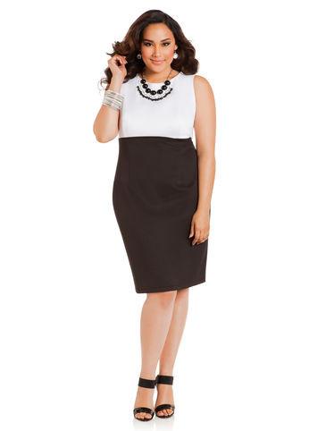 Мода для полных 2014. Деловое повседневное платье casual большого размера