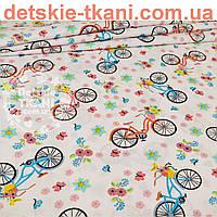 """Ткань """"Разноцветные велосипеды и цветочки"""", фон ткани - белый  (№ 856а)"""