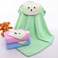Полотенце для купания с капюшоном деткое Салатовое Мишка