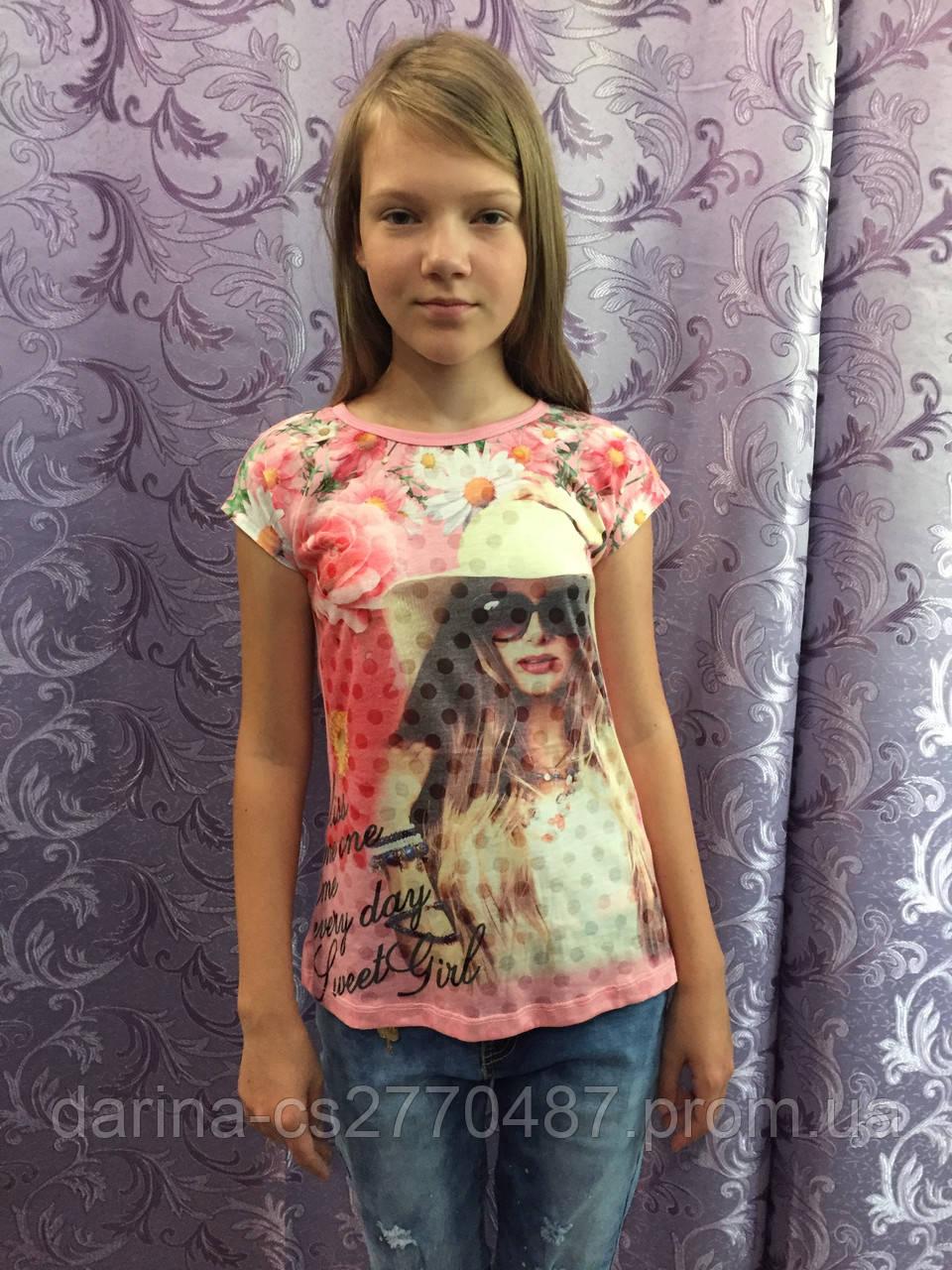 Подростковая футболка для девочки с принтом и ажурной спинкой 140 см