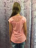 Подростковая футболка для девочки с принтом и ажурной спинкой 140 см, фото 2