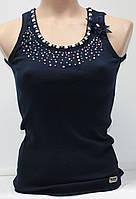 Майка молодежная с камнями, синяя, размер S-M, Турция
