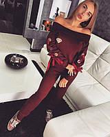 СПОРТИВНЫЙ ТМ DORATTI   Вязка шерсть с акрилом декорирован люверсами и атласной лентой -бантом  Бордо