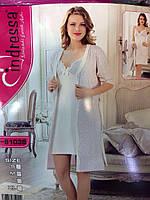 Турецкий хлопковый комплект халат и ночная рубашка