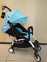 Детская коляска YOYA 175 Sky blue, 3 ярусный капор, легкая, компактная Йойа небесно голубая