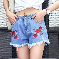 Джинсовые летние шорты с вышивкой PM7769