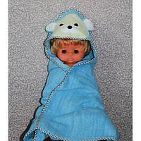 Детское полотенце с капюшоном деткое голубое