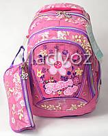Школьный рюкзак для девочки с пеналом ромашка малиновый