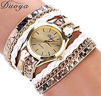 Часы наручные женские с белым ремешком код 125