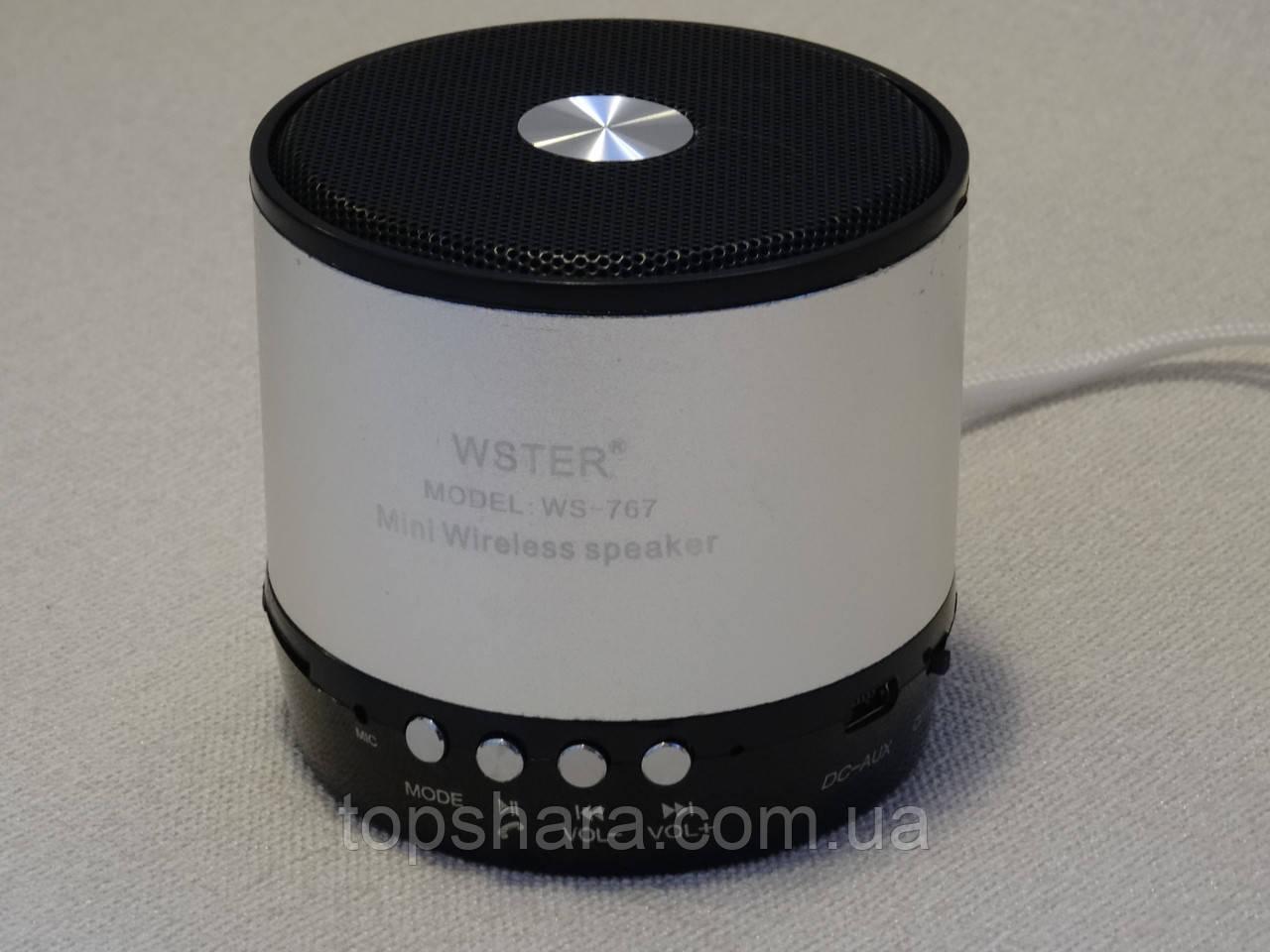 Колонка портативная Bluetooth WS-767 серебристая