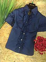 Блузка Рюши  13357 синий размер 42-46р