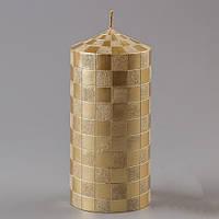 """Красивые Пеньковые Свечи """"Мозаика"""" ( 2 вида - золото и серебро) 15 см оригинальный подарок"""