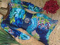 Платье+пояс GIVENCHY10946 голубой 42-48р