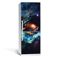 Интерьерная виниловая наклейка на холодильник Космос 04 пленка самоклеющаяся глянцевая с ламинацией 650*2000