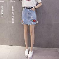 Джинсовая летняя юбка с вышивкой PM7772