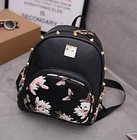 Женский рюкзачок с цветами Черный