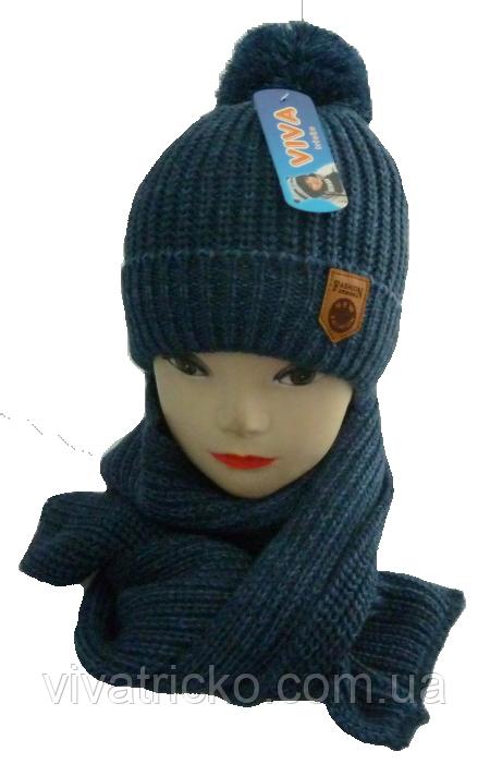 Комплект для мальчика шапка и шарф м 7049,р 3-12 лет