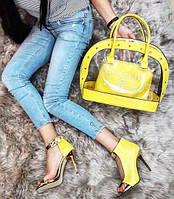 Набор: сумка, обувь Chanel желтый