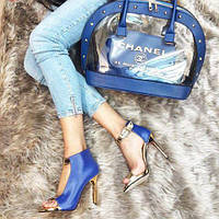 Набор: сумка, обувь Chanel синий