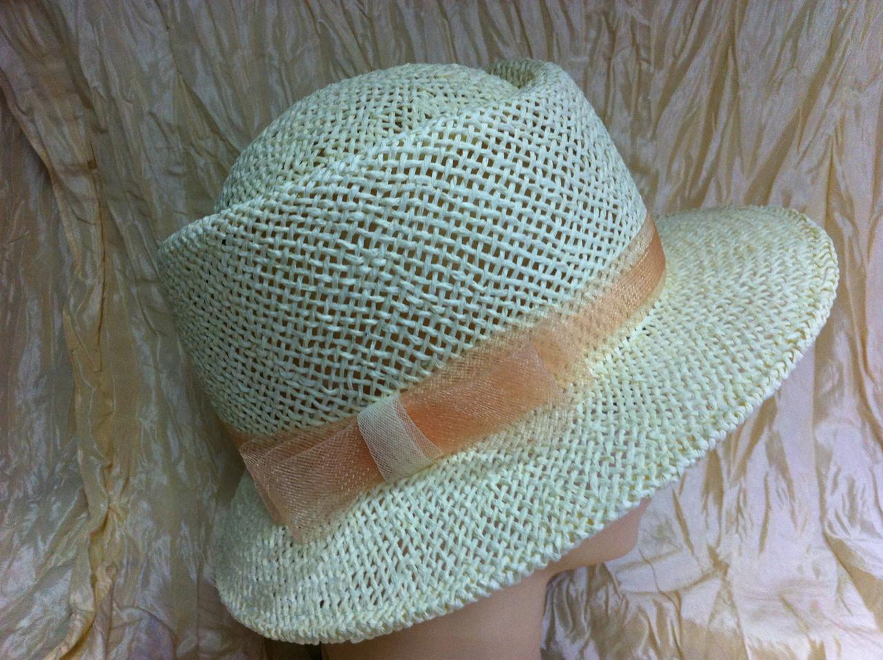 Шляпа  для лета средние поля  из рисовой соломки размер 55-57 см