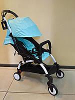 Детская коляска YOYA 175 А+ Sky blue, 4 ярусный капор, легкая, компактная Йойа небесно голубой