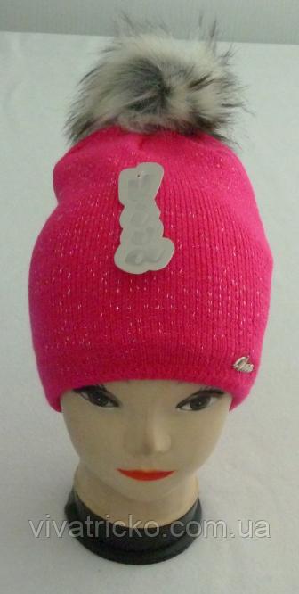 Шапка молодежная зимняя с бубоном м 7054, разные цвета
