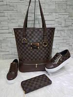 Набор сумка, обувь, кошелек от Louis Vuitton коричневый