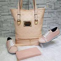 Набор сумка, обувь, кошелек от Louis Vuitton пудра