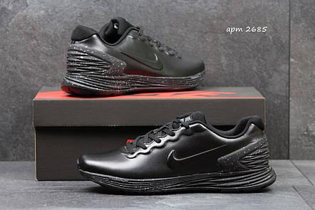 Модные кроссовки Nike Lunarlon черные, фото 2