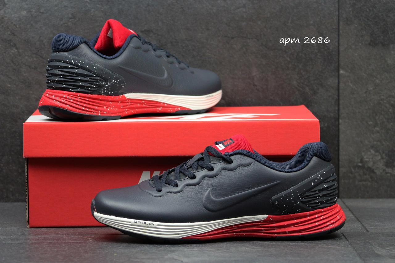 Модные кроссовки Nike Lunarlon темно синий с красным
