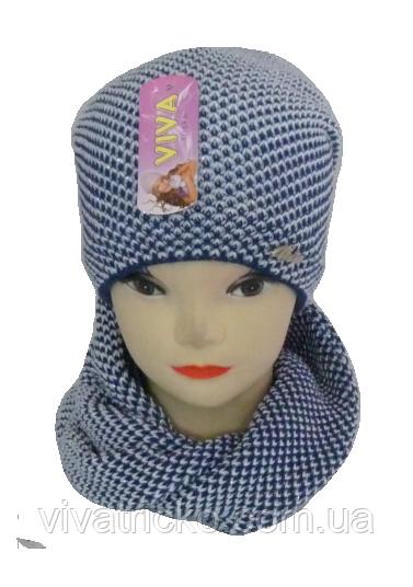 Шапка детская + шарф хомут, 5-15 лет, флис