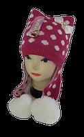 Шапка зимняя для девочек Котик с ушками 3-8 лет, флис