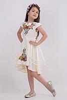 Нарядное детское платье Мальвина украшено вышивкой гладью
